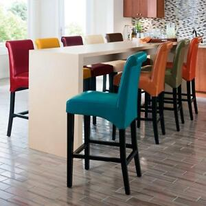 Premium Bonded Leather Bar Stool With Back Custom Dyed Textured Stool 13 Colors