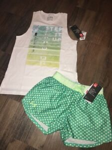 Under Armour Girls Youth Medium Outfit Tank Step It Up Shorts Green New
