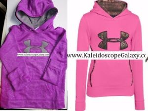UNDER ARMOUR GIRLS HOODIE SWEATSHIRTS ~ SIZE MEDIUM ~ 2 HOODIES PURPLE CAMO $105