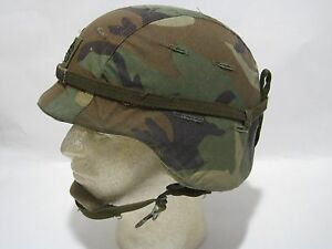 CLEAN RARE PARATROOPER PASGT KEVLAR HELMET WOODLAND CAMO COVER AIRSOFT ACH MICH