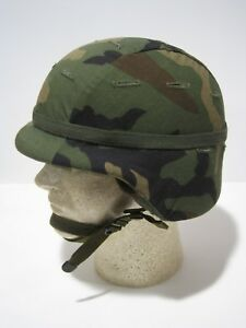 UNBELIEVABLE CONDITION PASGT KEVLAR HELMET WOODLAND COVER ACH MICH XSMALL