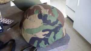 1980s US Army M8 Kevlar Helmet With Liner Chinstrap Camo Cover