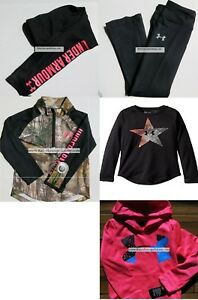 GIRLS 4T UNDER ARMOUR LEGGINGS ~ Size 4 HOODIE ~ LONG SLEEVE CAMO ~ NEW $159