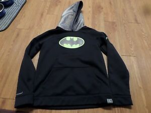 euc- boys long sleeve under armour  batman hoodie-ylg black -storm1-loose fit