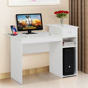 Wood COMPUTER DESK w Drawer Student Work Home Office Furniture Table White