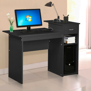 Computer Desk Laptop Table with Drawer Home Office Study Workstation Black US
