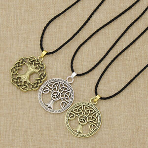 Antique Viking Tree Of Life Pendant Necklace Norse Slavic Leather Chain Jewelry