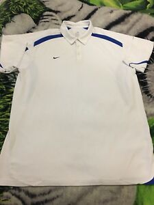 Nike Fit Dry Mens White Blue Button Up Polo Sports Shirt Size 3XL