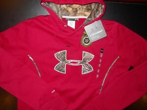 WOMEN'S NWT UNDER ARMOUR STORM CALIBER CAMO LOGO HOODIE; SIZE LARGE; RED-CAMO