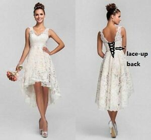 Hi-Lo Lace Short Wedding Dresses Bridal Gown US Stock Size6.8.10.12.14.16.18.20