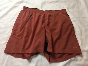 patagonia rust elastic waist hiking running workout shorts womans size small