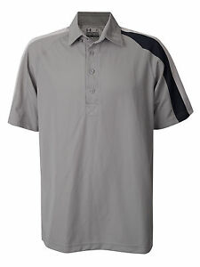 Men's New Under Armour Coldblack Heat Gear Polo Button Shirt Grey Black Golf XL