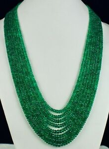 8 LINE 599 CTS NATURAL ZAMBIAN EMERALD FACETTED RONDELLE LADIES BEADS NECKLACE