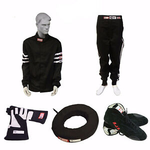 RACE SUIT COMBO PACKAGE BLACK DRIVING SUIT GLOVES SHOES NECK COLLAR RJS RACING