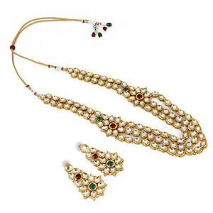 Side pendant Kundan Necklace Set With Earrings For Women  Girls- GCN 1265