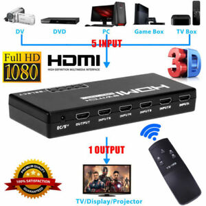 5-Port 4K 1080P HDMI Switch Switcher Selector Splitter+ Remote For HDTV PS3 DVD