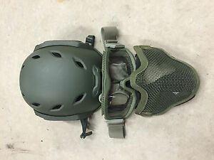 Rothco Airsoft Helmet Mesh Mask and Goggles OD Green --- Nice ---