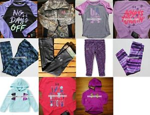 UNDER ARMOUR GIRLS SIZE 4 ~ HOODIE SWEATSHIRT ~ LEGGINGS  PURPLE BLACK