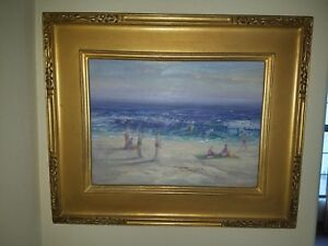 William Dorsey Signed Oil Painting AT THE BEACH Seascape oil on board 12x16