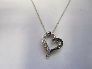 10k White Gold White & Black Diamond Accent Heart Pendant and Necklace.