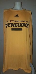 NEW adidas NHL Apparel Pittsburgh Penguins Dry Fit Long Sleeve Shirt Mens Large