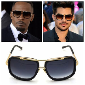 Mach Oversized Square Aviator Gold Metal Bar Men Designer Fashion Sunglasses $17.95