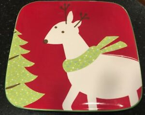 Be Merry 08 Reindeer TARGET Salad Luncheon PLATE Holiday 08 Square Platter