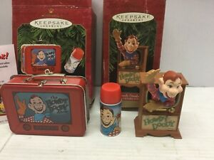 (2) Hallmark Keepsake Ornaments Howdy Doody Lunch Box Set & Anniversary Edition
