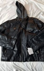 NWT Calvin Klein Men s Faux Lamb Leather Moto Jacket with Hoodie Black Large