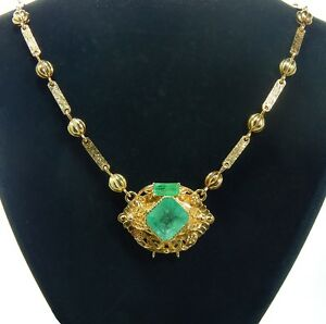 25 Carat Emerald Custom Design Gold Necklace - valued at AUD $30500