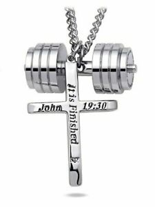 Men's Stainless Steel Combo Necklace-Phil 4:13 Stack PlateJohn 19:30 Tapered Cr
