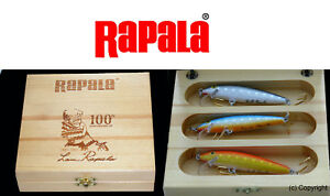 Rapala fishing lure vintage wooden box special limited signed original lures