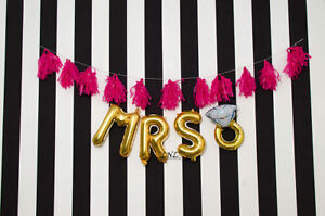 MRS RING 16quot; Letter Balloons Rose Gold Silver Banner Hen Party Decor