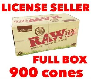 raw organic pre rolled cone 1 14 FULL BOX 900 cones