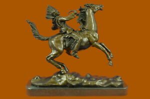 Carl Kauba 100% Solid Bronze Sculpture Signed American Indian CHIEF WITH HORSE N