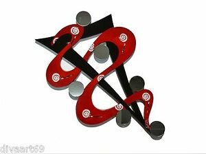 HUGE Contemporary Abstract Twisted Red Mirror Wall Sculpture hanging 58x35