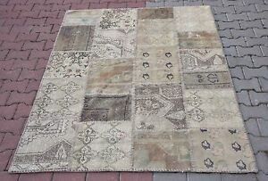 Turkish Anatolian Handmade Patchwork Remade Carpet Urban Area Home