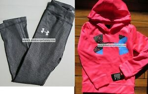 UNDER ARMOUR GIRLS SIZE 6 ~ SWEATSHIRT HOODIE PINK ~ BLACK & SILVER LEGGINGS $70