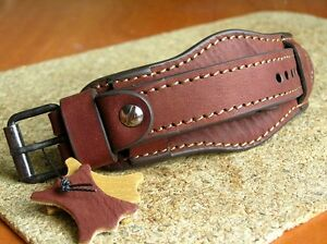 MILITARY WATCH STRAP GENUINE LEATHER CUFF BRACELET BAND 20mm BORDO OSCAR MOSER