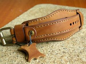 MILITARY WATCH STRAP GENUINE LEATHER CUFF BRACELET BAND 20mm BROWN OSCAR MOSER