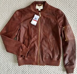 MICHAEL KORS Washed Leather Bomber Moto Jacket XS Cognac Brown Tan NWT $495