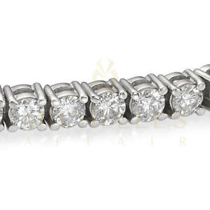 Enhanced Women Diamond Tennis Bracelet 10 Carat F SI 14K White Gold