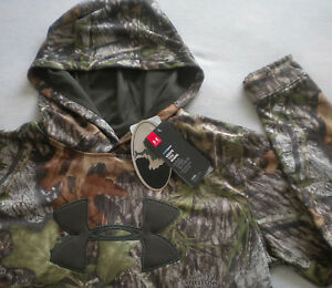 NWT $60 Boy's UNDER ARMOUR STORM 1 HUNTING HOODIE Mossy Oak CAMO Loose XL