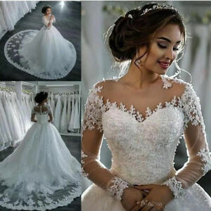 New Long Sleeves Lace Wedding Dresses Ball Gown Wedding Bridal Gowns Custom