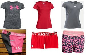 UNDER ARMOUR 6pc GIRLS FITTED SHORTS ~ SMALL ~TOPS ~ NWT gymnastics $165