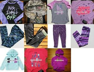 UNDER ARMOUR GIRLS SIZE 4 ~ HOODIE SWEATSHIRT ~ LEGGINGS  PURPLE BLACK PINK $365