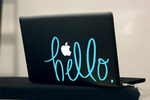 Hello Hand Lettered Text Typography Sky Blue Vinyl Decal for 13quot; Macbook