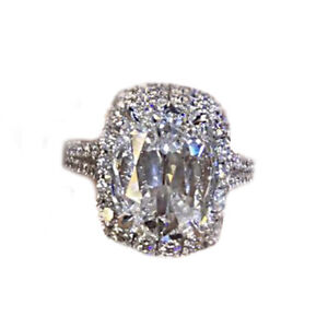 GIA Certified Halo Design Cushion Cut Diamond Platinum Engagement Ring 2.25 CTW