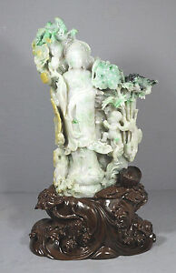 Large Well Carved Chinese Jadeite Kwan-Yin