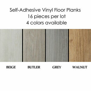 Self-Adhesive Vinyl Planks Hardwood Wood Peel 'N Stick Floor Tiles- 16 Pieces